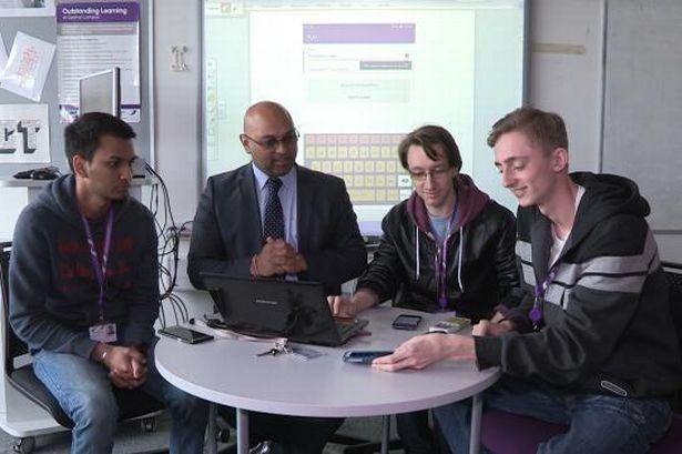 App designers Mukesh, Kieran and Josh with tutor Raj Patel