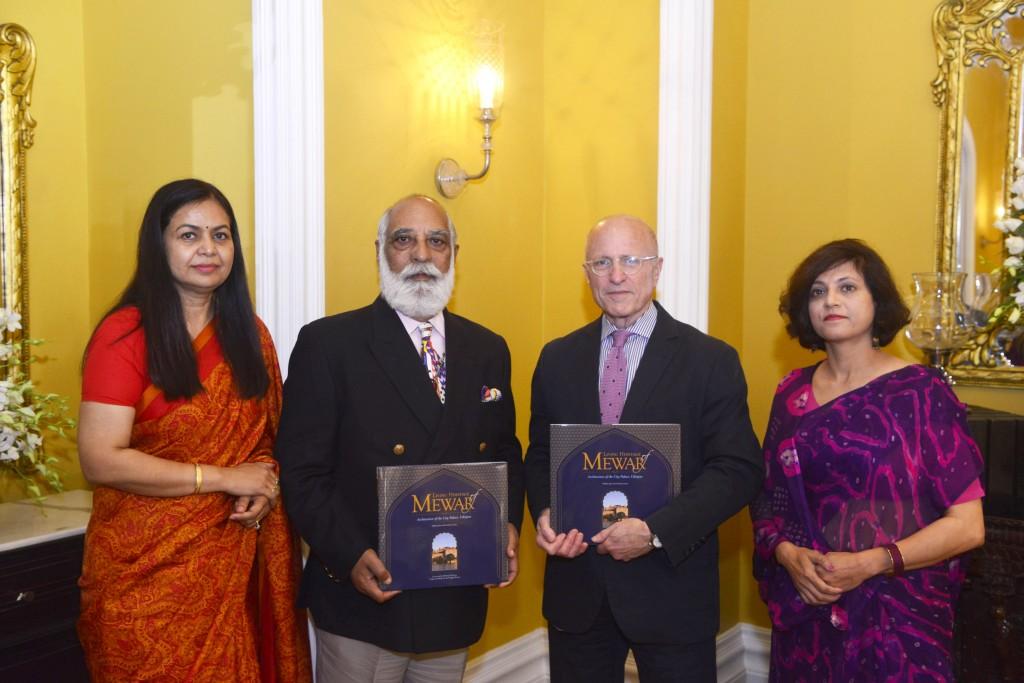 L-R MMCF Vrinda Raje Singh, Shriji Arvind Singh Mewar, Dr James Cuno, Dr Shikha Jain