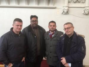 Pegida UK leader Tommy Robinson, with community activist Desmond Jaddoo, councillor Waseem Zaffar and the BBC's Adrian Goldberg in Lozells