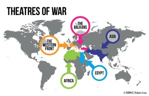 Graphics showing areas of conflict which featured Muslim soldiers during World War One.